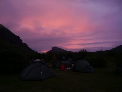 Sunset at Básar campsite, A Waldron