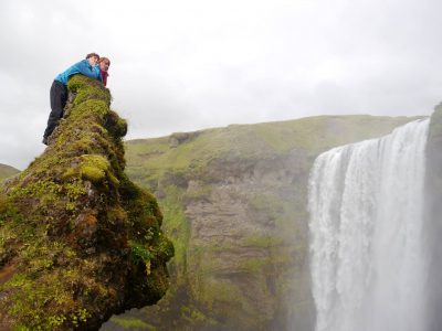 The troll's head overlooking Skógafoss, the 60m waterfall where we began our journey, A Waldron